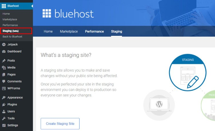 how to easily create staging site wordpress before publishing new updates bluehost