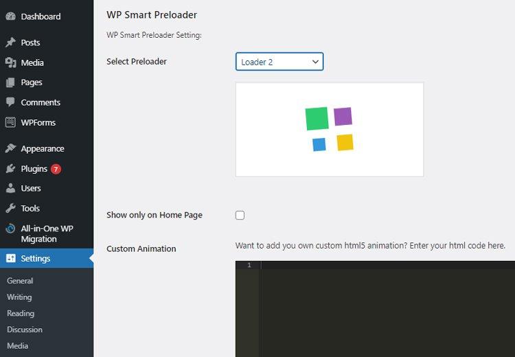 how to create a wordpress preloader wp smart preloader settings