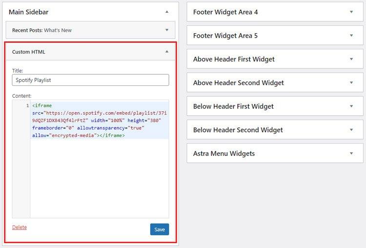 how to embed spotify playlist wordpress spotify playlist embed custom html widgets