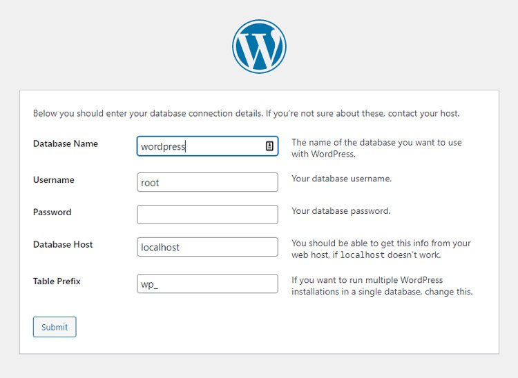 how to install wordpress manually database credentials