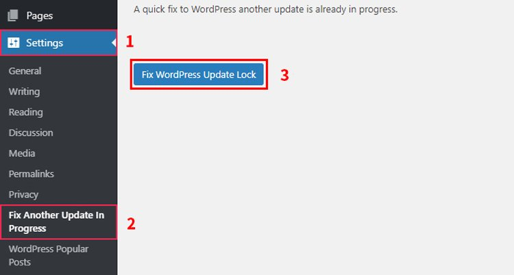 how to fix another update is currently in progress error in wordpress fix another update plugin button