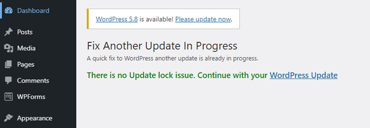 how to fix another update is currently in progress error in wordpress fix another update plugin fixed