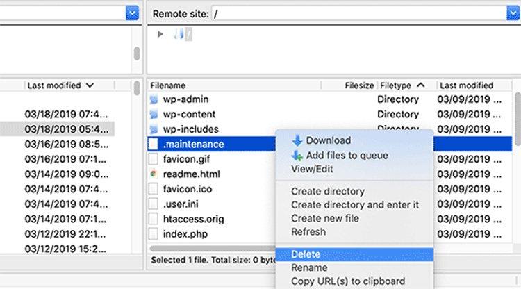 how to fix briefly unavailable scheduled maintenance error wordpress delete maintenance file