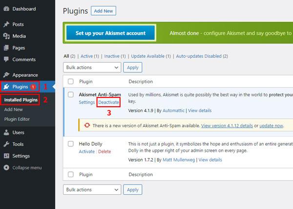 how to downgrade rollback wordpress plugin versions deactivate plugin