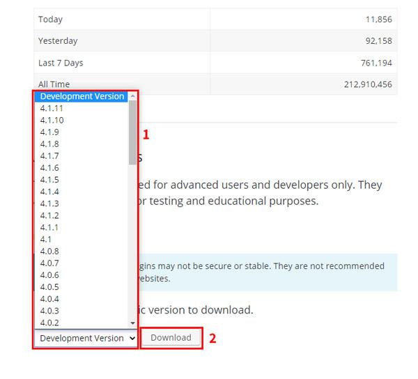 how to downgrade rollback wordpress plugin versions plugin page download rollback version