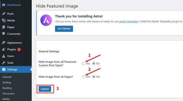 how to hide featured image in post wordpress using a plugin
